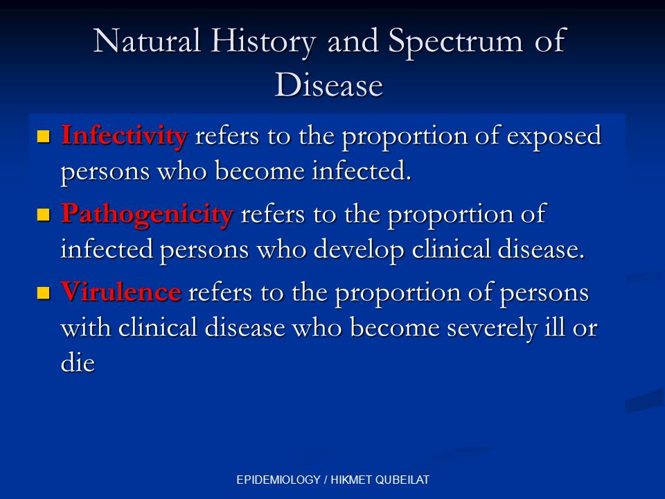 Natural History and Spectrum of Disease Infectivity refers to the proportion of exposed persons who become infected. Infectivity refers to the proport