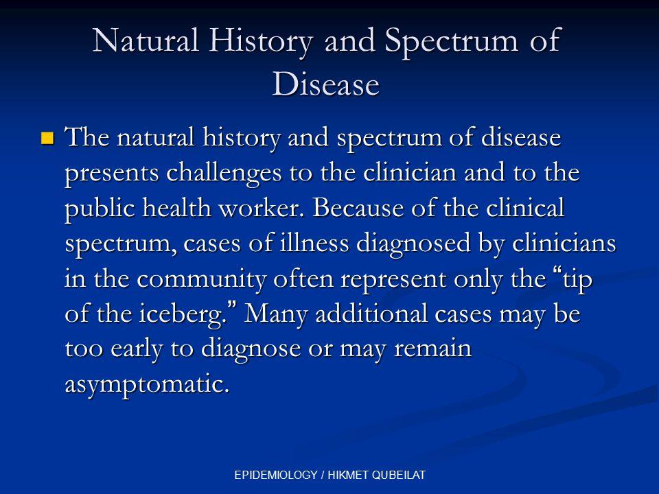 EPIDEMIOLOGY / HIKMET QUBEILAT Natural History and Spectrum of Disease The natural history and spectrum of disease presents challenges to the clinicia