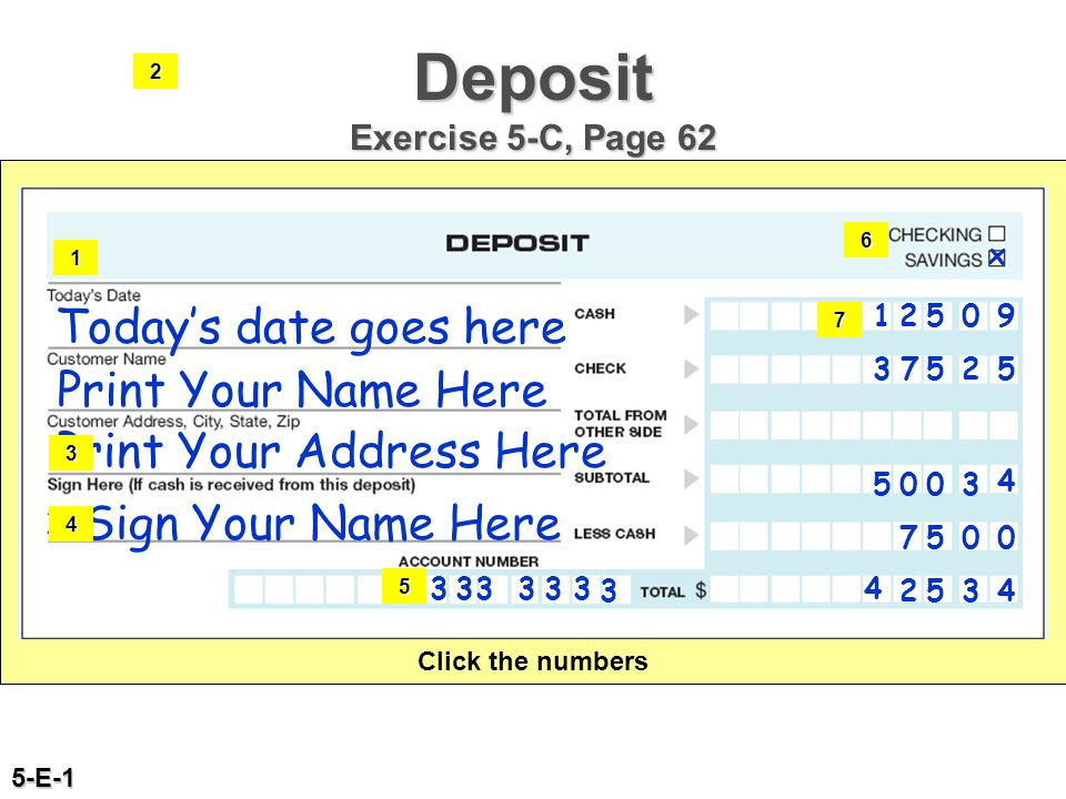 Deposit Exercise 5-C, Page 62 Today's date goes here Print Your Name Here Print Your Address Here Sign Your Name Here 333333 3 x 12509 37525 7500 4 25