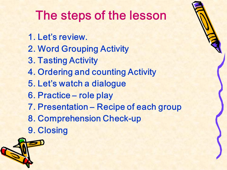 The steps of the lesson 1. Let's review. 2. Word Grouping Activity 3.