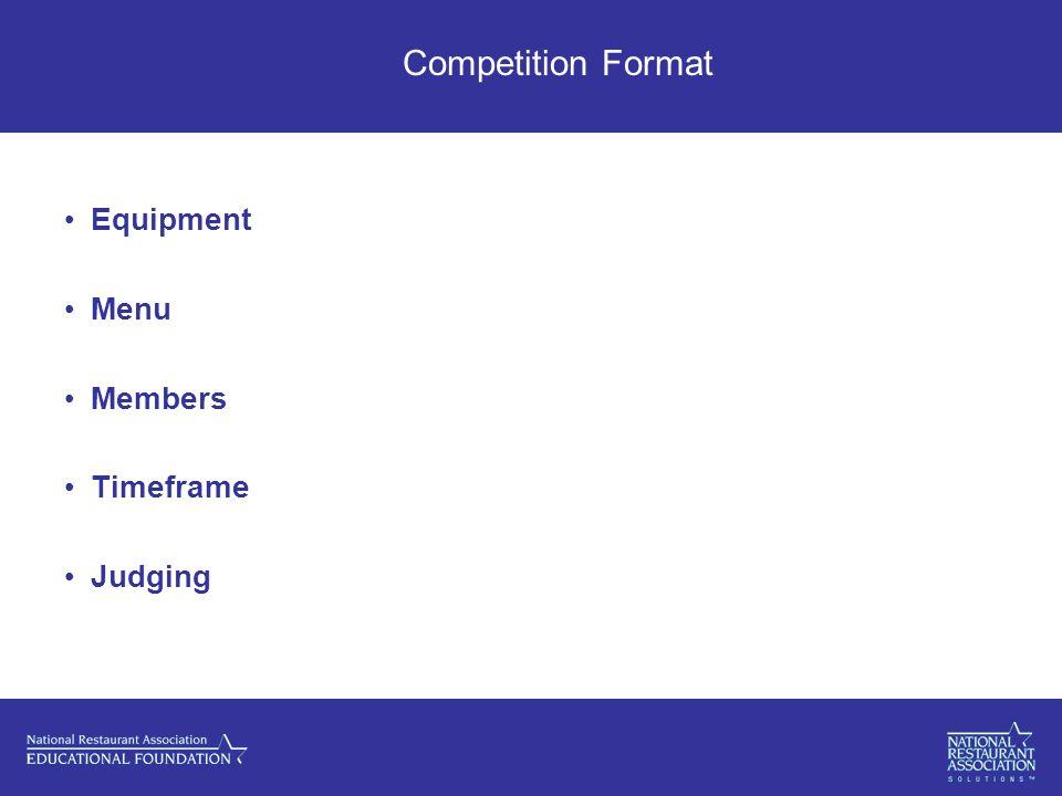Competition Format Equipment Menu Members Timeframe Judging