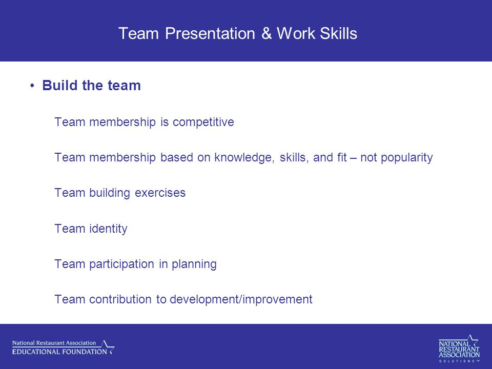 Team Presentation & Work Skills Build the team Team membership is competitive Team membership based on knowledge, skills, and fit – not popularity Team building exercises Team identity Team participation in planning Team contribution to development/improvement