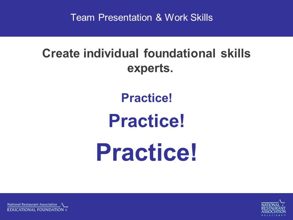 Team Presentation & Work Skills Create individual foundational skills experts. Practice!