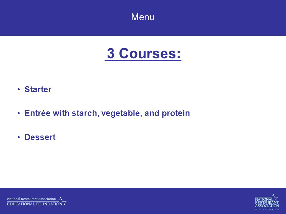 Menu 3 Courses: Starter Entrée with starch, vegetable, and protein Dessert