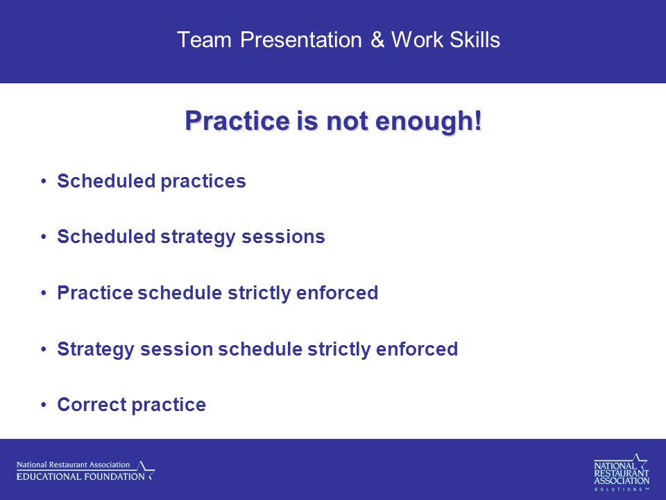 Team Presentation & Work Skills Practice is not enough.