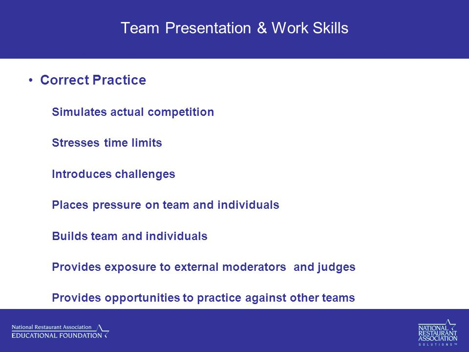 Team Presentation & Work Skills Correct Practice Simulates actual competition Stresses time limits Introduces challenges Places pressure on team and individuals Builds team and individuals Provides exposure to external moderators and judges Provides opportunities to practice against other teams