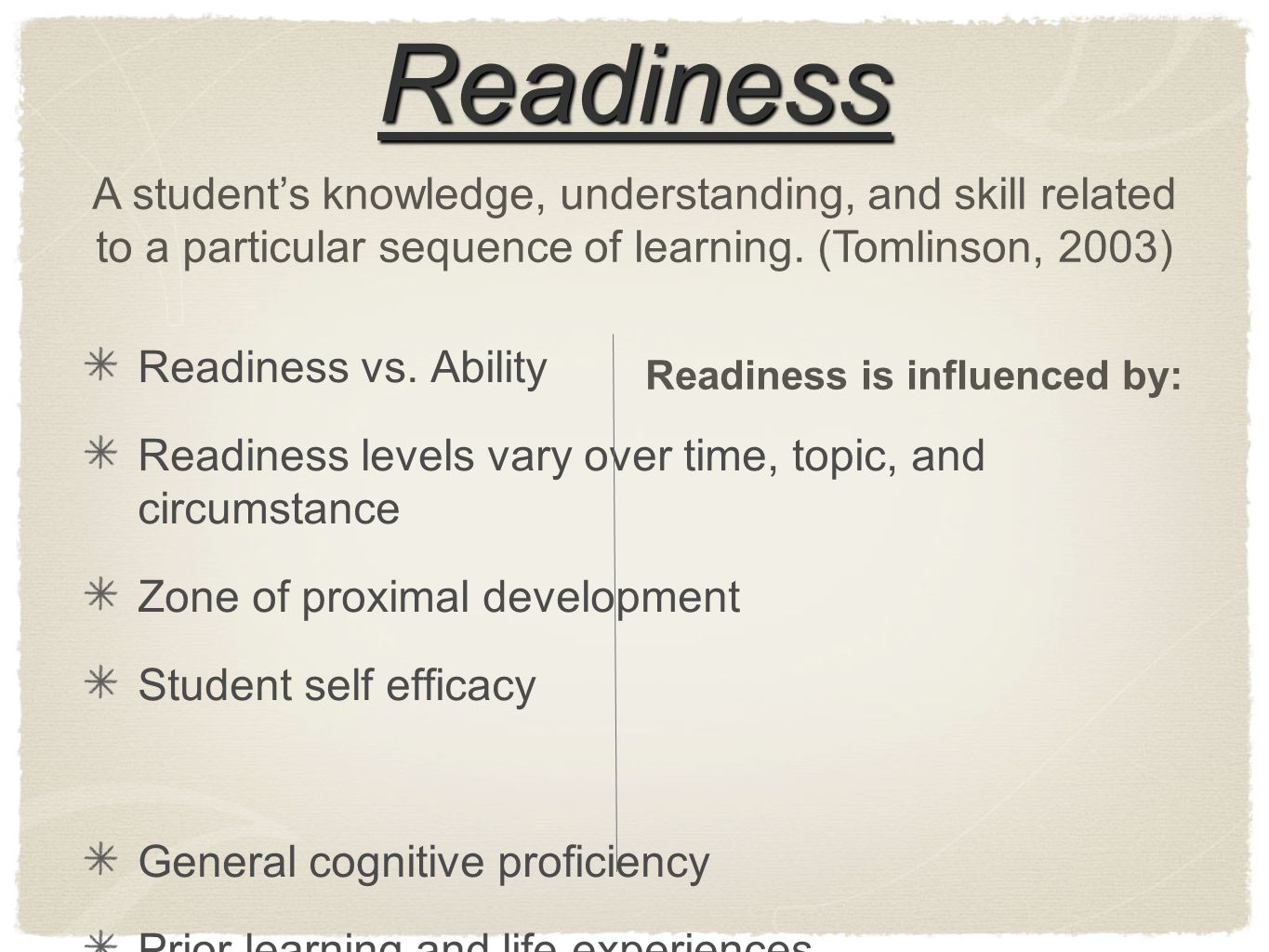 Readiness Readiness vs.