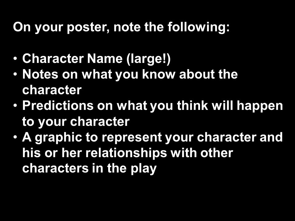 On your poster, note the following: Character Name (large!)Character Name (large!) Notes on what you know about the characterNotes on what you know ab