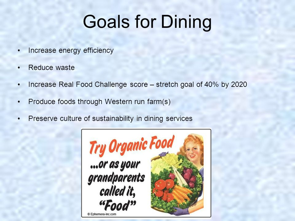 Goals for Dining Increase energy efficiency Reduce waste Increase Real Food Challenge score – stretch goal of 40% by 2020 Produce foods through Wester