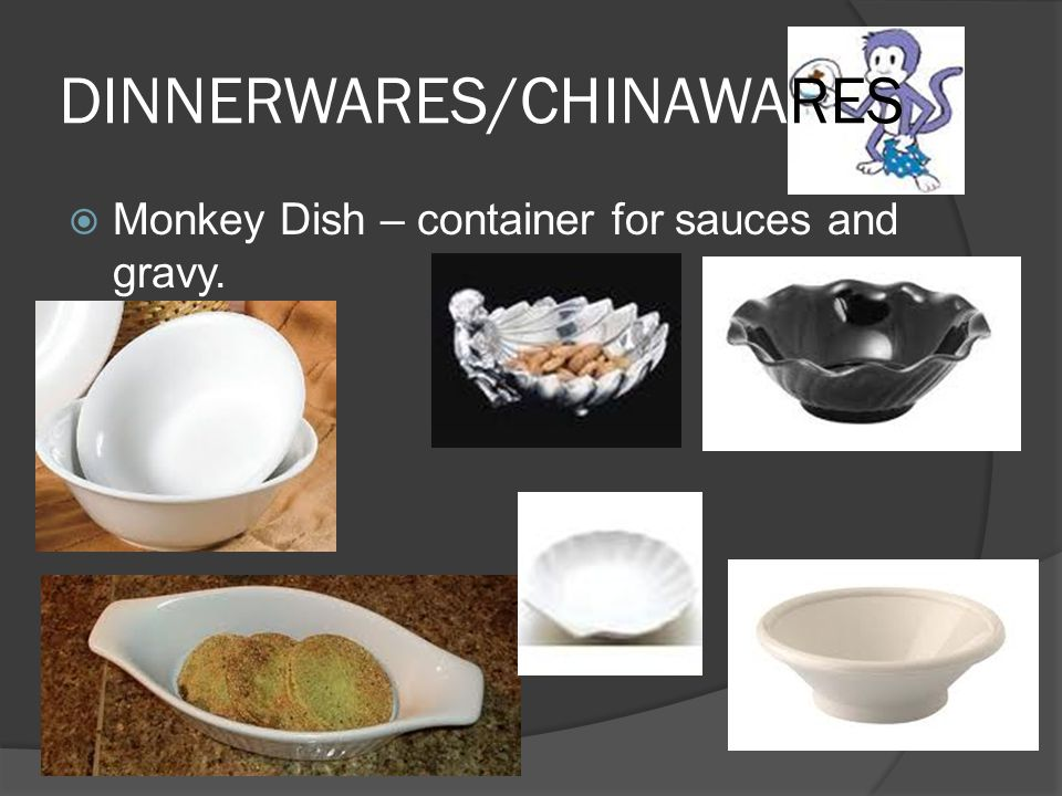 DINNERWARES/CHINAWARES  Monkey Dish – container for sauces and gravy.