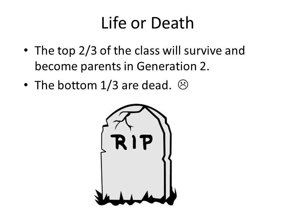 Life or Death The top 2/3 of the class will survive and become parents in Generation 2. The bottom 1/3 are dead. 