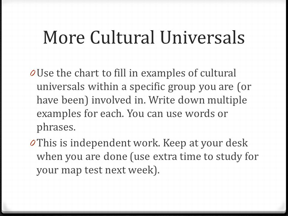 More Cultural Universals 0 Use the chart to fill in examples of cultural universals within a specific group you are (or have been) involved in. Write