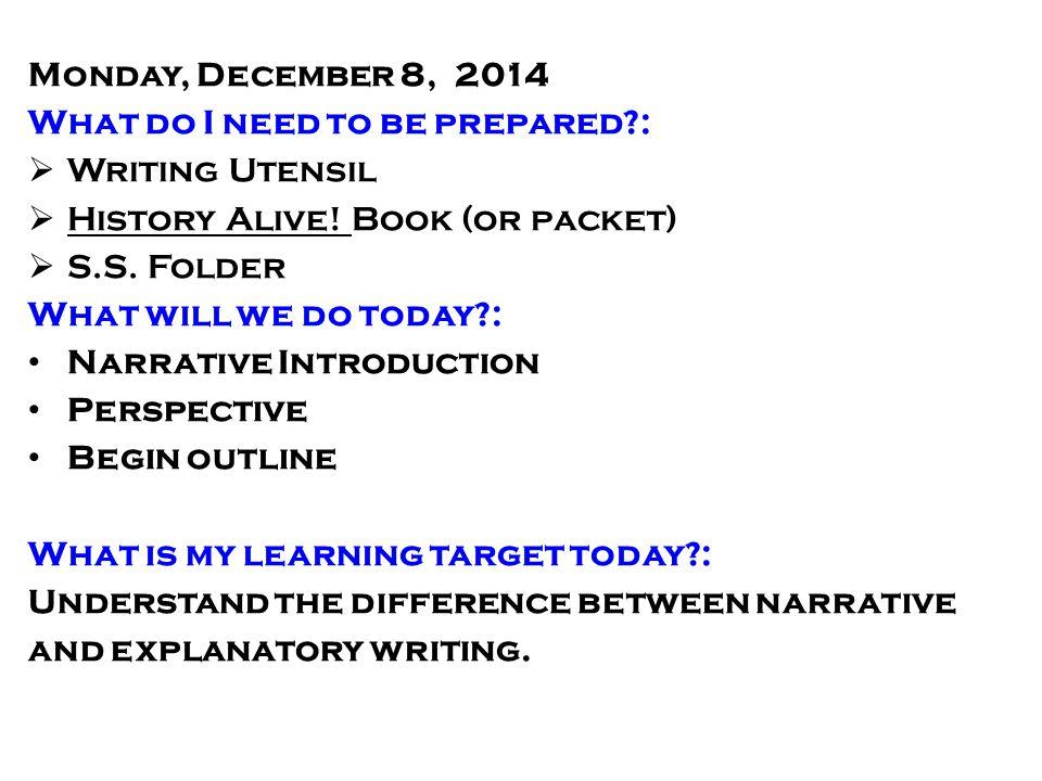 Narrative Writing Day 1