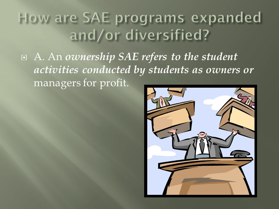  A. An ownership SAE refers to the student activities conducted by students as owners or managers for profit.