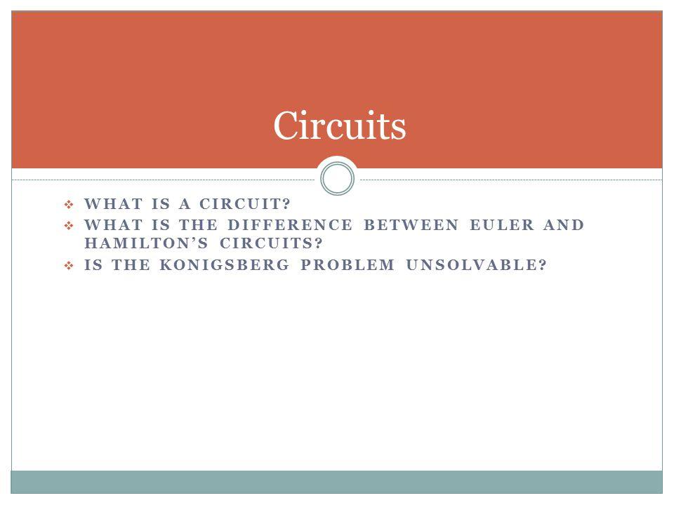 What is a Circuit.Circuit- a circuit is a closed, simple path.