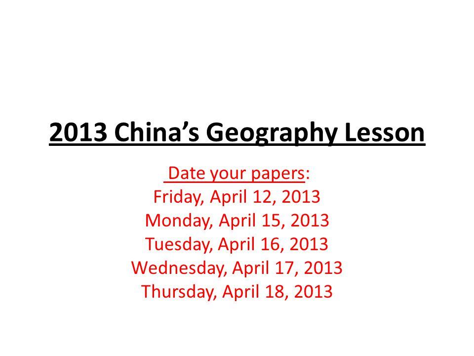 Monday, April 15, 2013 Class: Ms.