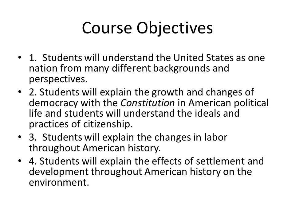 Course Materials 1.Boyer, Paul, American Nation, Holt, Rinehart, and Winston, 2005.