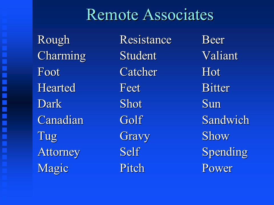 Remote Associates RoughResistanceBeer CharmingStudentValiant FootCatcherHot HeartedFeetBitter DarkShotSun CanadianGolfSandwich TugGravyShow AttorneySelfSpending MagicPitchPower