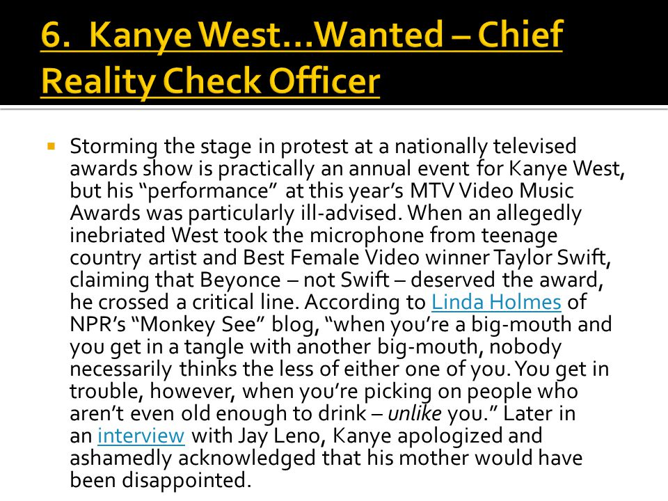 " Storming the stage in protest at a nationally televised awards show is practically an annual event for Kanye West, but his ""performance"" at this yea"
