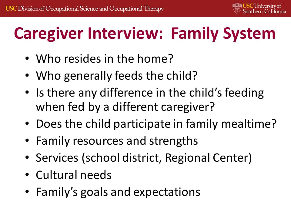 Caregiver Interview: Family System Who resides in the home.