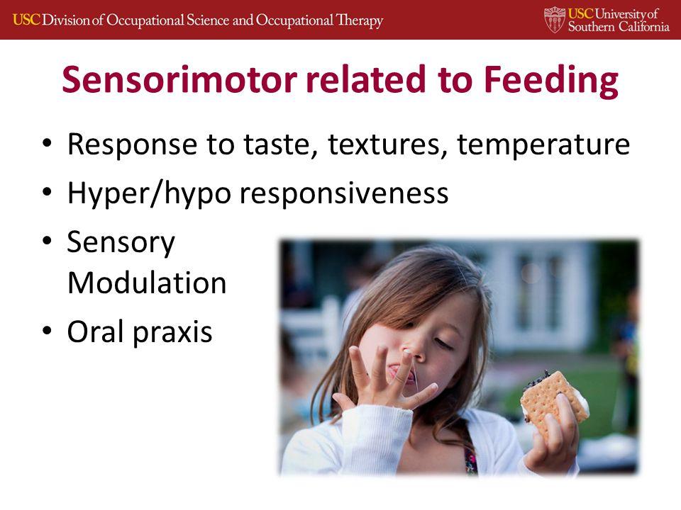 Sensorimotor related to Feeding Response to taste, textures, temperature Hyper/hypo responsiveness Sensory Modulation Oral praxis