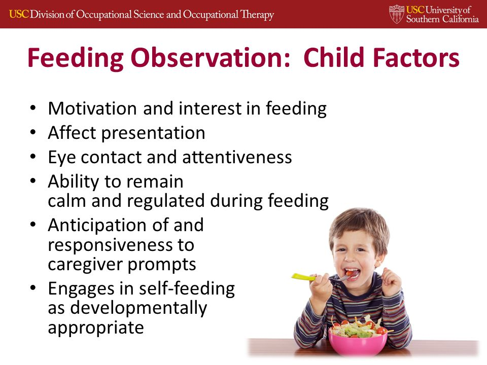 Feeding Observation: Child Factors Motivation and interest in feeding Affect presentation Eye contact and attentiveness Ability to remain calm and regulated during feeding Anticipation of and responsiveness to caregiver prompts Engages in self-feeding as developmentally appropriate