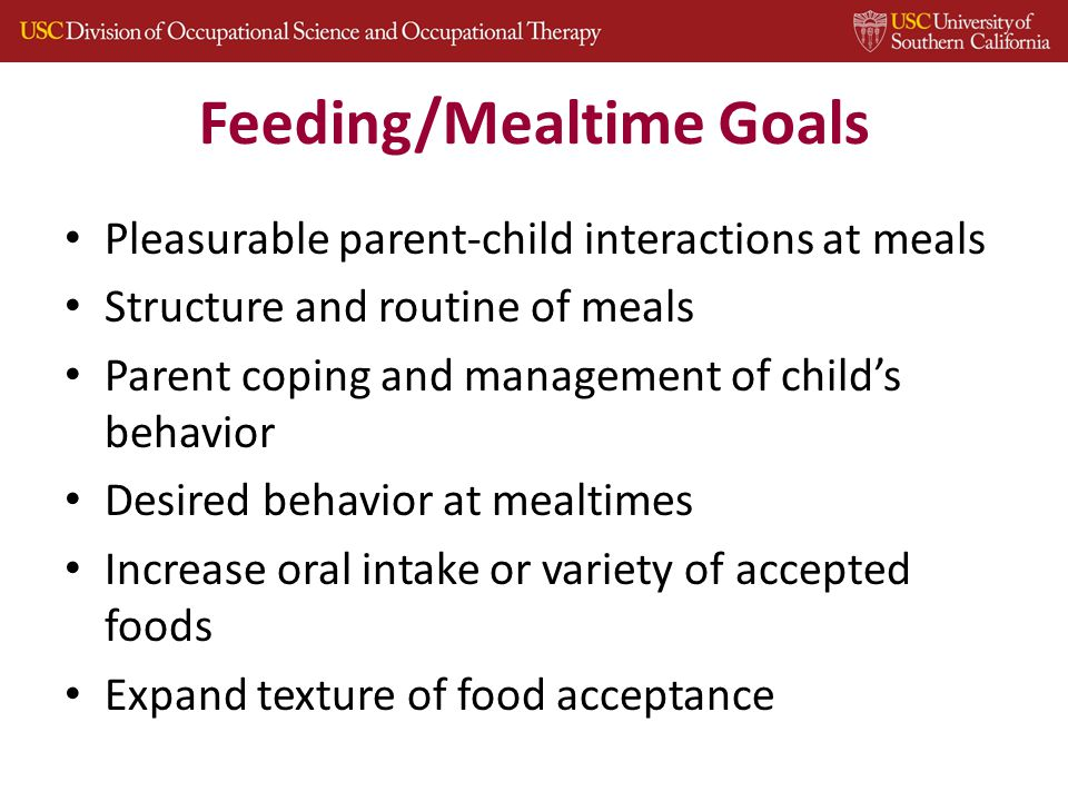 Feeding/Mealtime Goals Pleasurable parent-child interactions at meals Structure and routine of meals Parent coping and management of child's behavior Desired behavior at mealtimes Increase oral intake or variety of accepted foods Expand texture of food acceptance 29