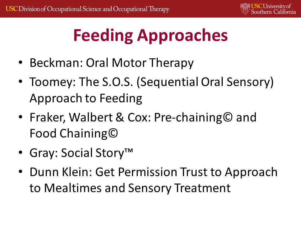 Feeding Approaches Beckman: Oral Motor Therapy Toomey: The S.O.S.