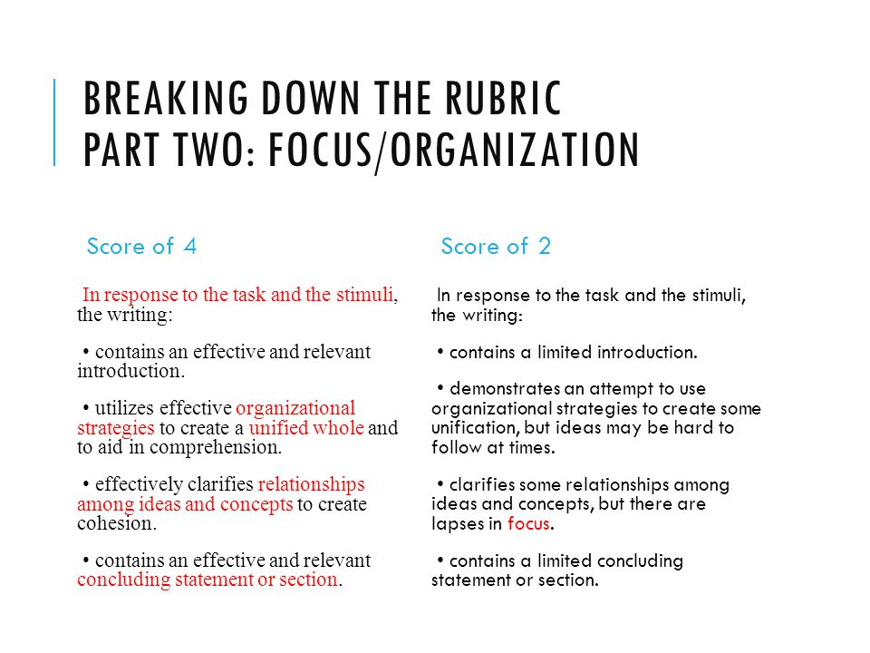 BREAKING DOWN THE RUBRIC PART TWO: FOCUS/ORGANIZATION Score of 4 In response to the task and the stimuli, the writing: contains an effective and relevant introduction.