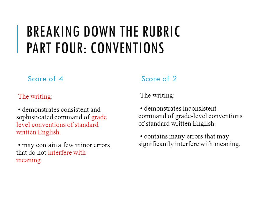 BREAKING DOWN THE RUBRIC PART FOUR: CONVENTIONS Score of 4 The writing: demonstrates consistent and sophisticated command of grade level conventions of standard written English.