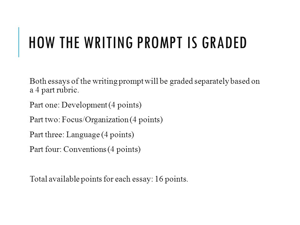 HOW THE WRITING PROMPT IS GRADED Both essays of the writing prompt will be graded separately based on a 4 part rubric.