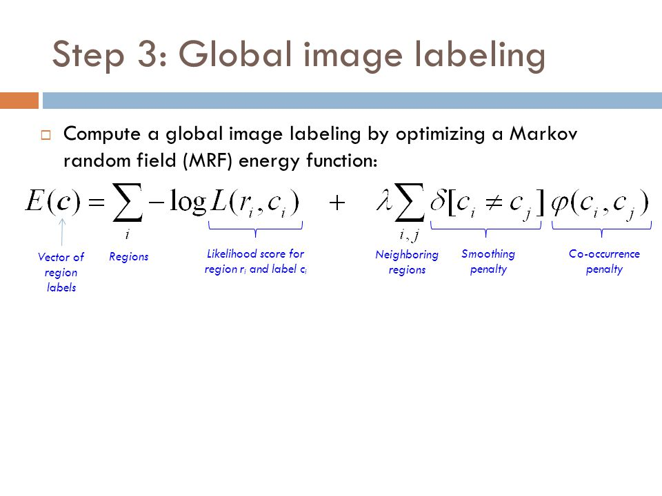 Step 3: Global image labeling  Compute a global image labeling by optimizing a Markov random field (MRF) energy function: Likelihood score for region r i and label c i Co-occurrence penalty Vector of region labels Regions Neighboring regions Smoothing penalty