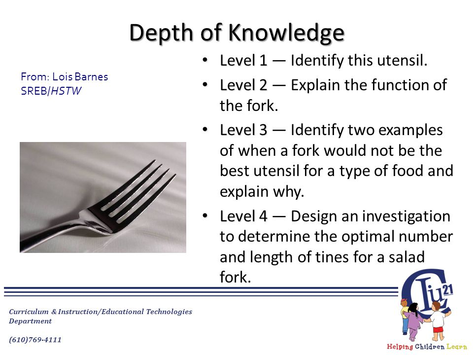 Depth of Knowledge Level 1 Level 1 — Identify this utensil. Level 2 Level 2 — Explain the function of the fork. Level 3 Level 3 — Identify two example