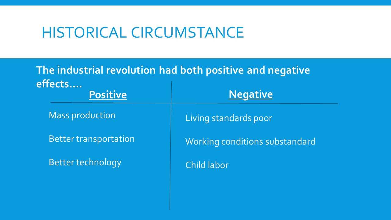 HISTORICAL CIRCUMSTANCE Positive Negative The industrial revolution had both positive and negative effects….