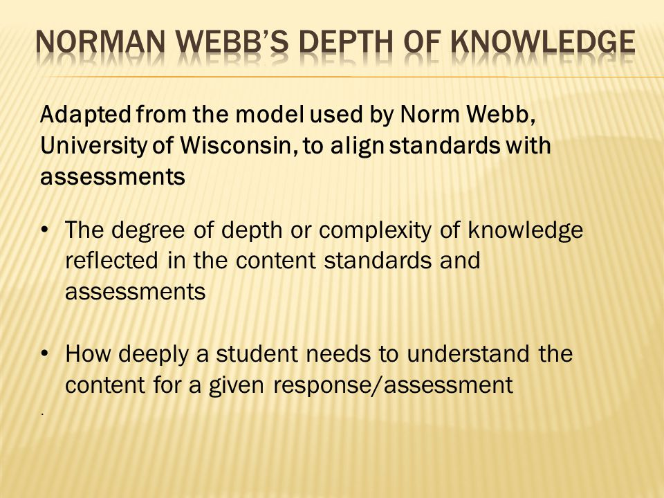 Adapted from the model used by Norm Webb, University of Wisconsin, to align standards with assessments The degree of depth or complexity of knowledge