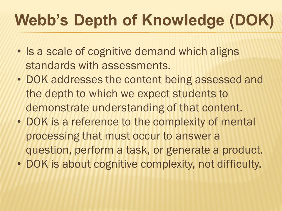 Is a scale of cognitive demand which aligns standards with assessments. DOK addresses the content being assessed and the depth to which we expect stud