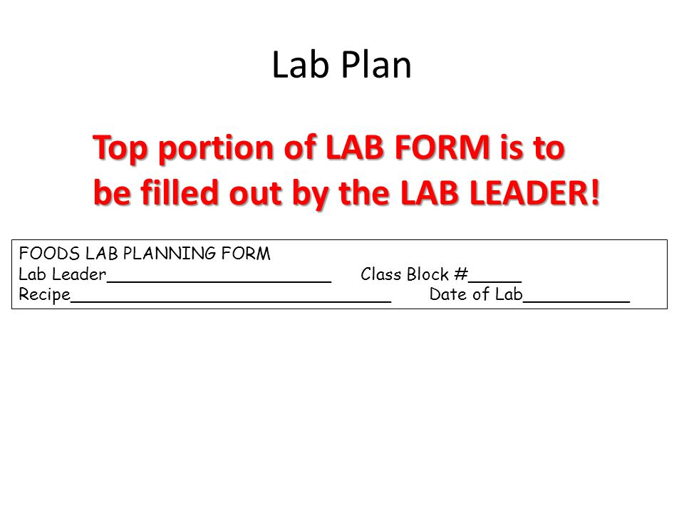 Lab Plan FOODS LAB PLANNING FORM Lab Leader_____________________Class Block #_____ Recipe______________________________Date of Lab__________ Top porti