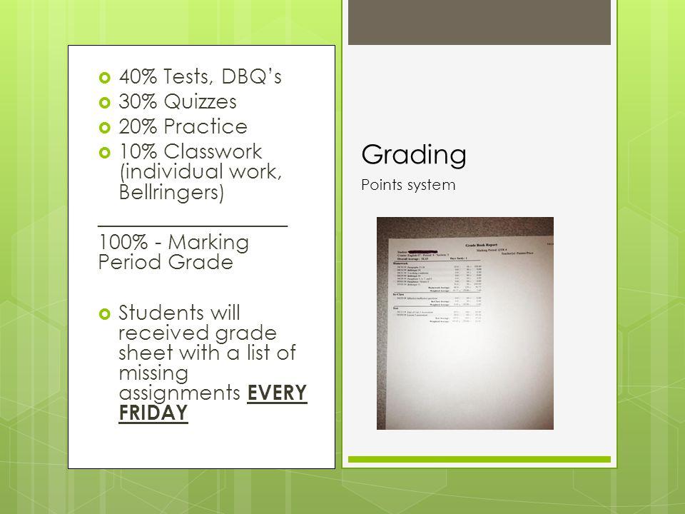  40% Tests, DBQ's  30% Quizzes  20% Practice  10% Classwork (individual work, Bellringers) __________________ 100% - Marking Period Grade  Studen