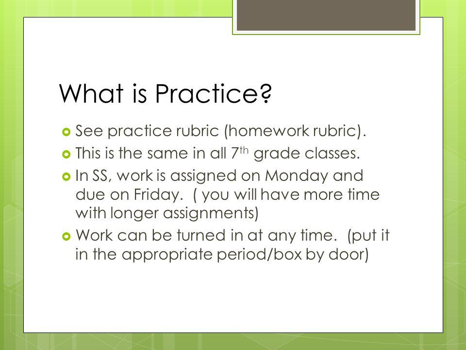 What is Practice.  See practice rubric (homework rubric).