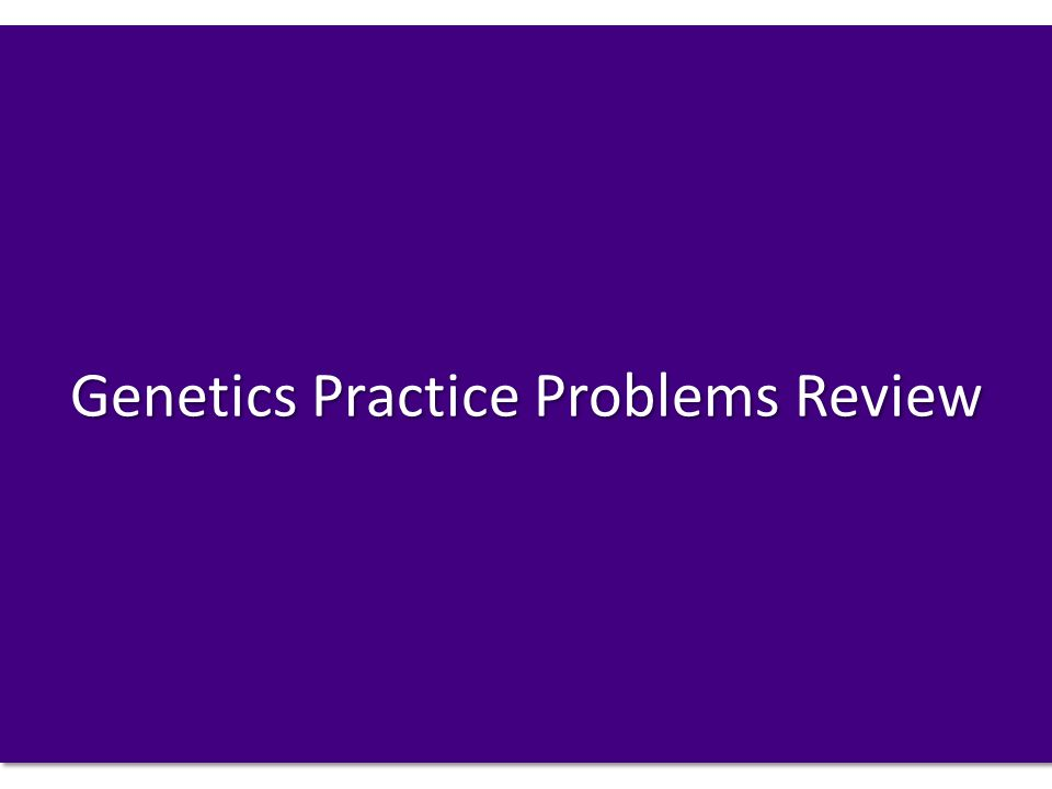 Genetics Practice Problems Review