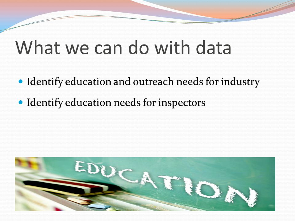 What does the data show? Top 3 violation decreases: Raw materials and ingredients adequately inspected, processed and stored Decreased 29% Packaging p