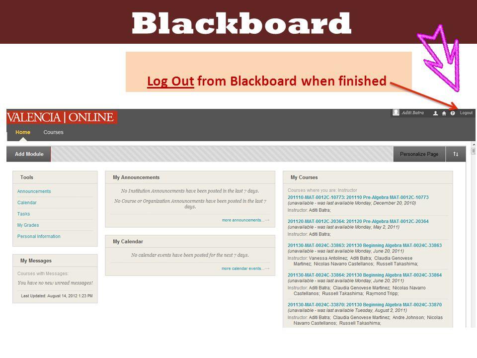 Blackboard Log Out from Blackboard when finished