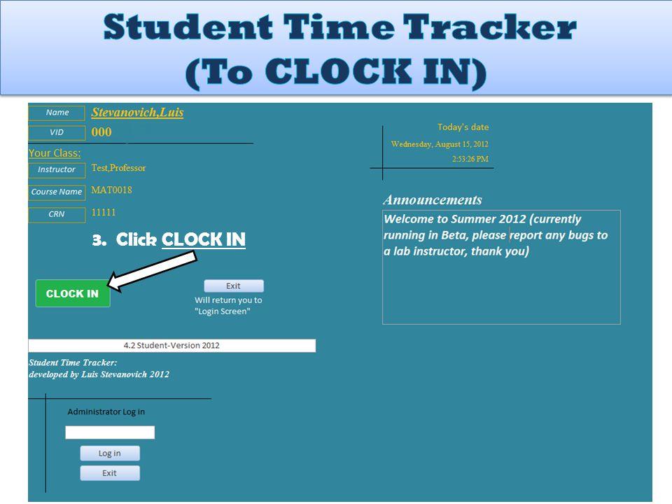 3. Click CLOCK IN