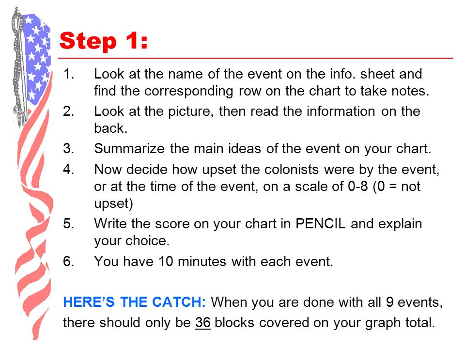 Step 1: 1.Look at the name of the event on the info. sheet and find the corresponding row on the chart to take notes. 2.Look at the picture, then read
