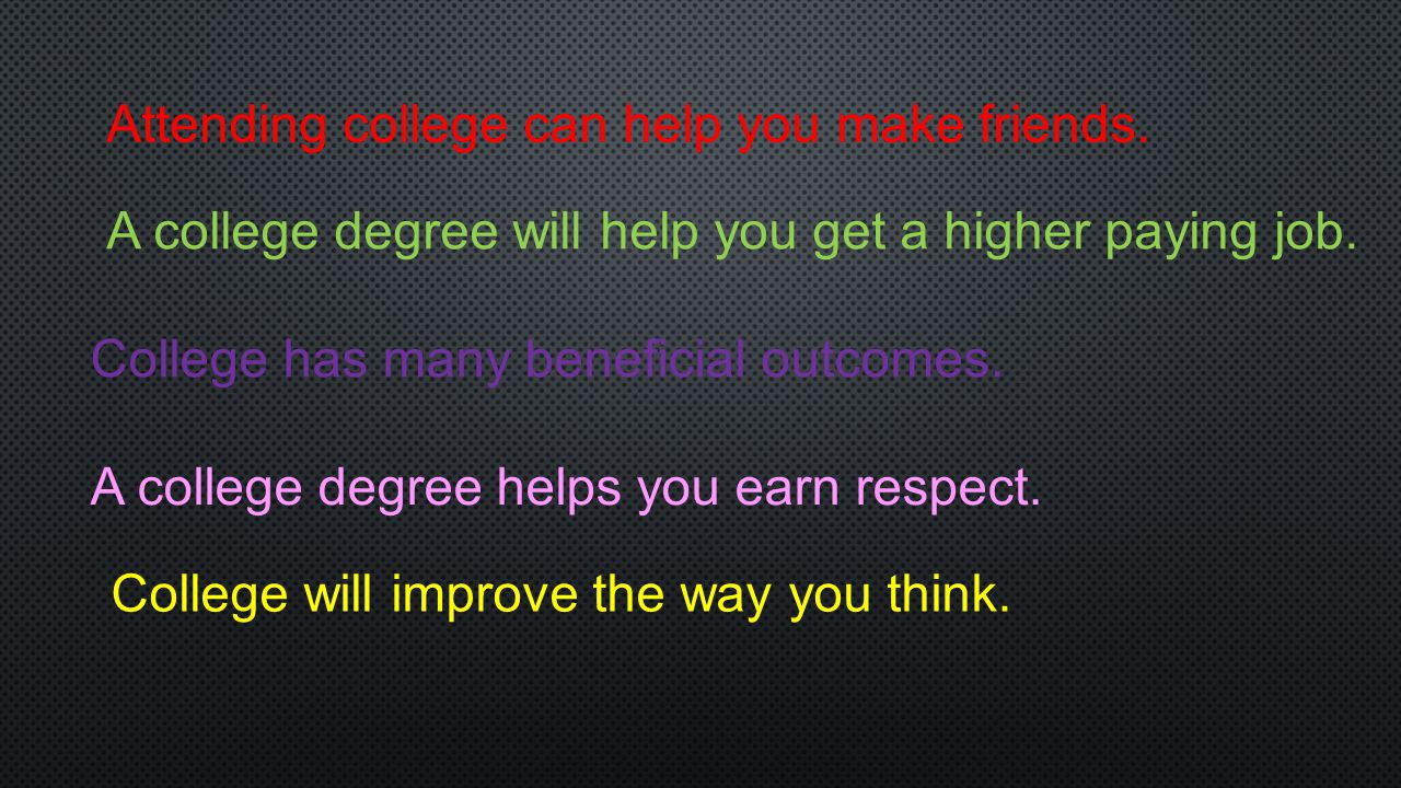Attending college can help you make friends.