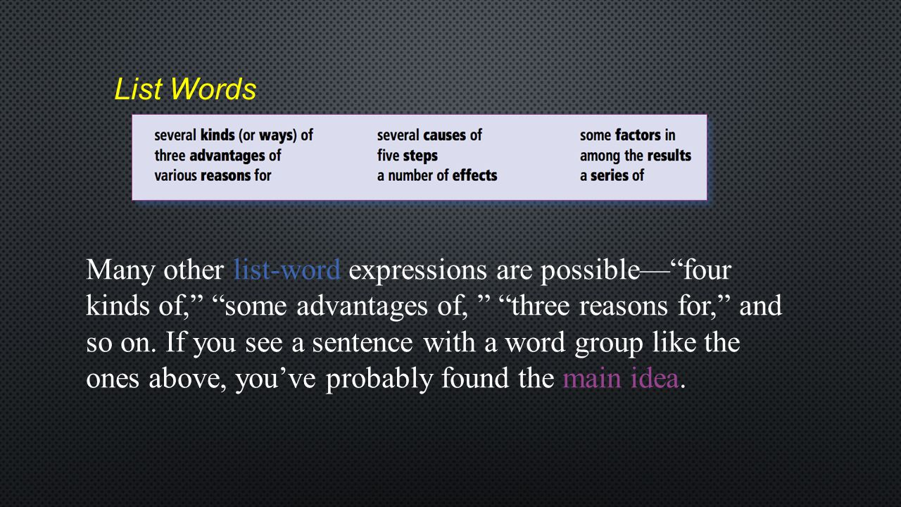List Words Many other list-word expressions are possible— four kinds of, some advantages of, three reasons for, and so on.