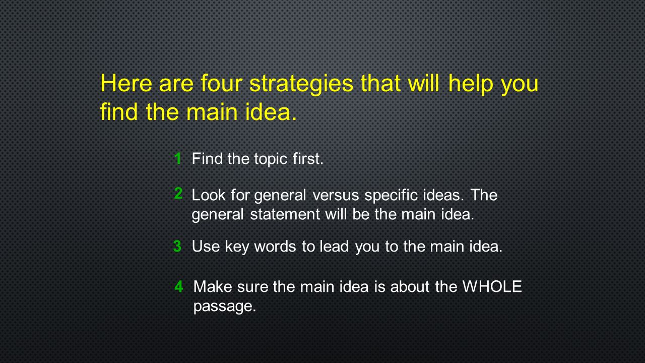 Here are four strategies that will help you find the main idea.