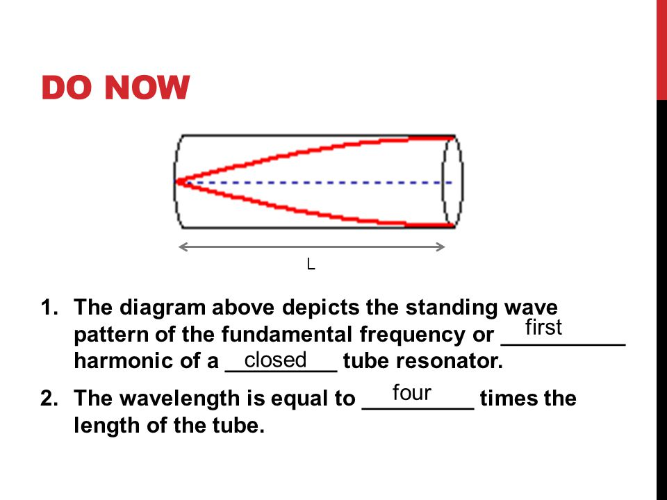 DO NOW 1.The diagram above depicts the standing wave pattern of the fundamental frequency or __________ harmonic of a _________ tube resonator. 2.The