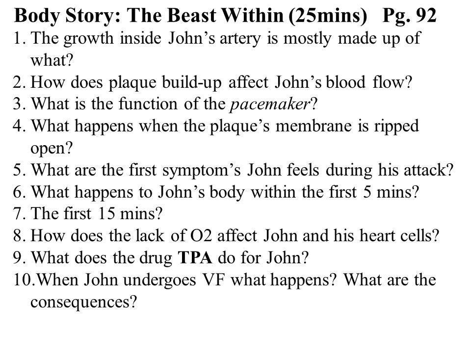 Body Story: The Beast Within (25mins) Pg.