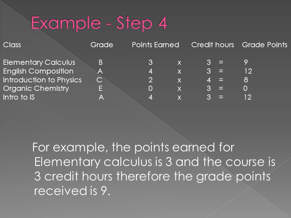 For example, the points earned for Elementary calculus is 3 and the course is 3 credit hours therefore the grade points received is 9. ClassGrade Poin